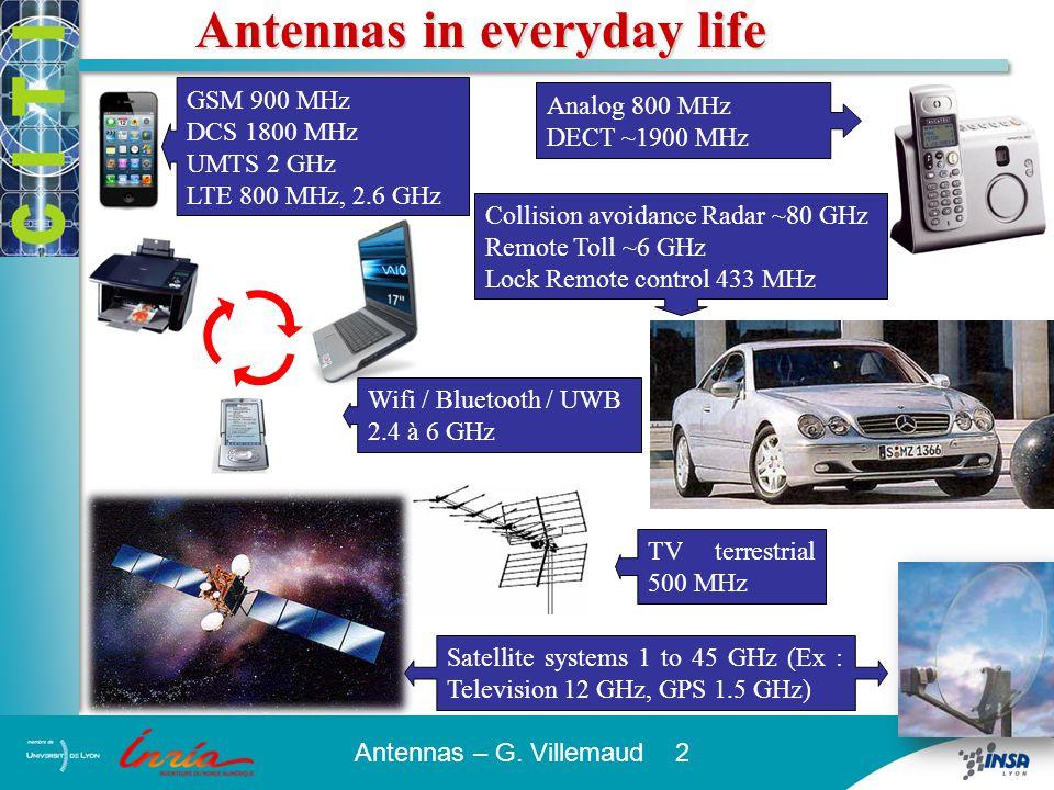 Antennas – G. Villemaud 2 Antennas in everyday life Analog 800 MHz DECT ~1900 MHz Collision avoidance Radar ~80 GHz Remote Toll ~6 GHz Lock Remote con