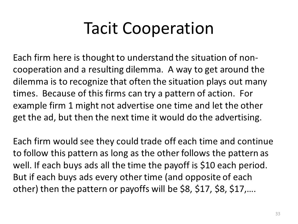 Tacit Cooperation 33 Each firm here is thought to understand the situation of non- cooperation and a resulting dilemma.