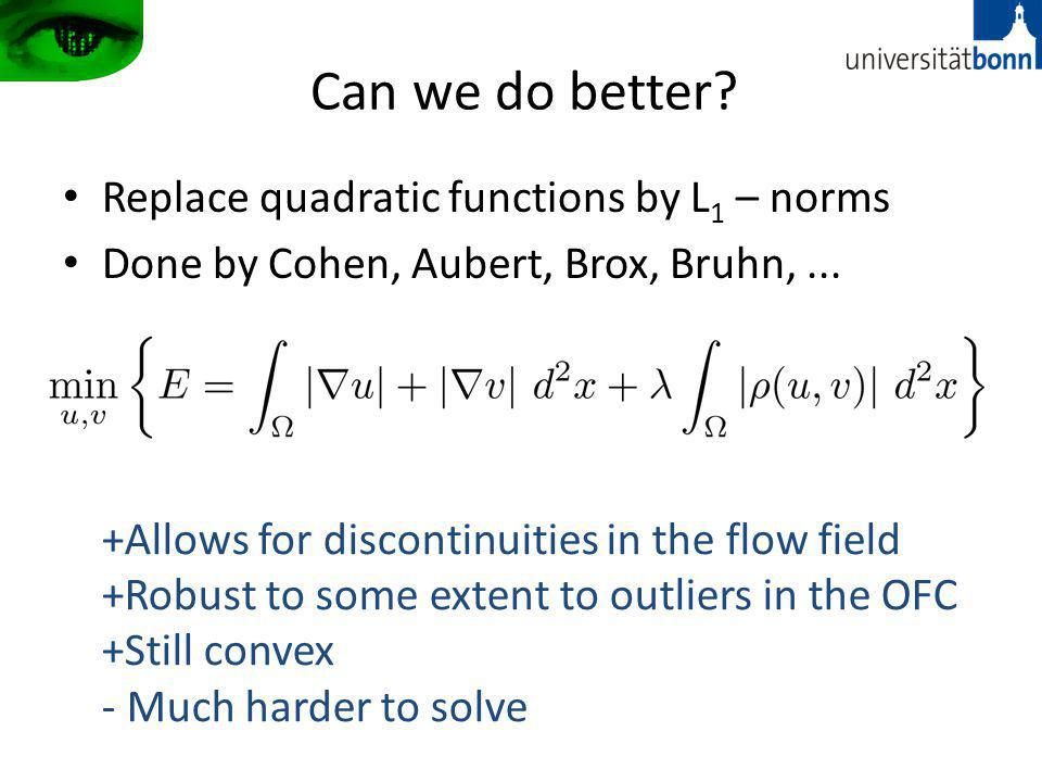 Can we do better.Replace quadratic functions by L 1 – norms Done by Cohen, Aubert, Brox, Bruhn,...