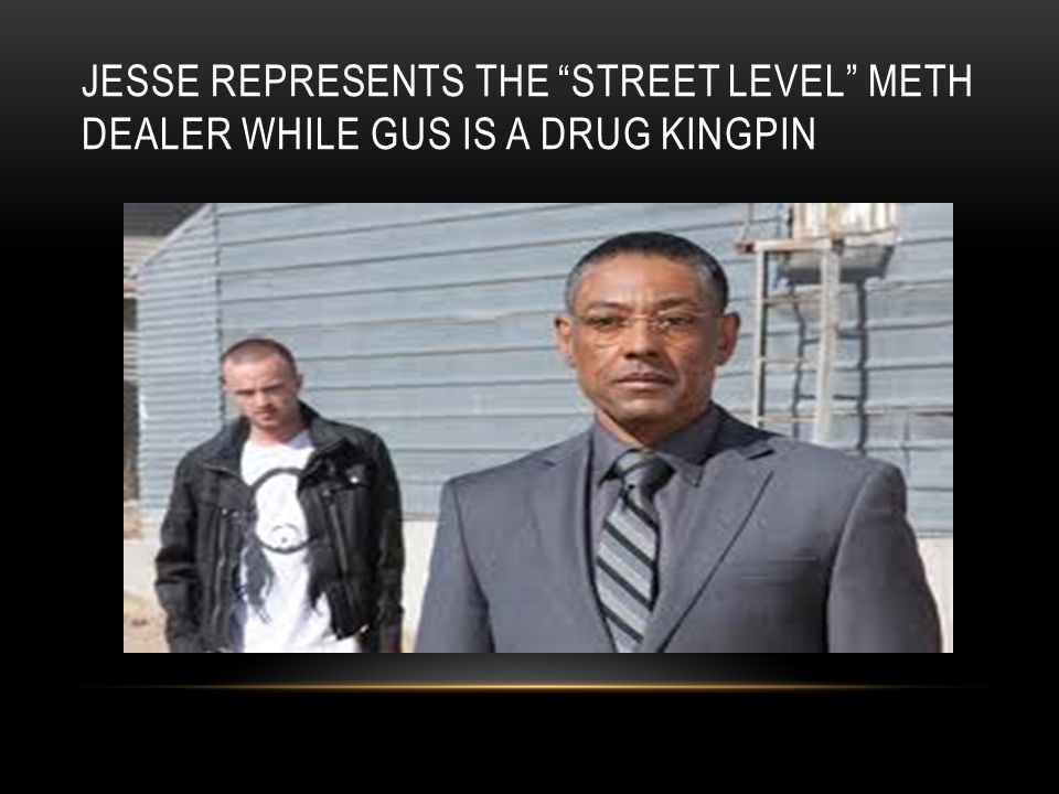JESSE REPRESENTS THE STREET LEVEL METH DEALER WHILE GUS IS A DRUG KINGPIN