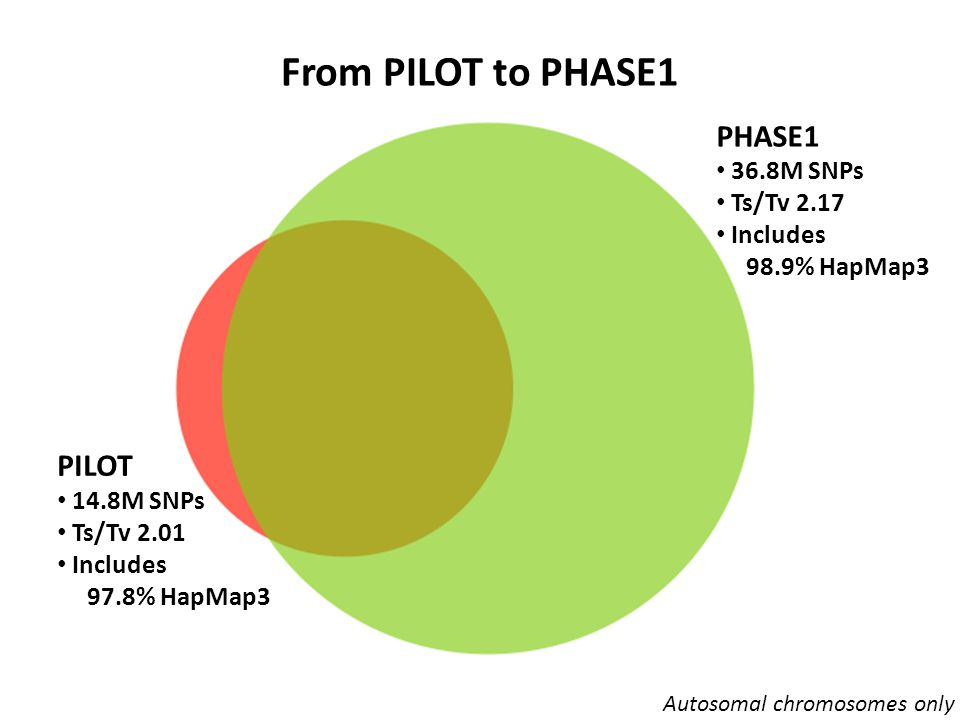 From PILOT to PHASE1 PILOT-only 1.7M SNPs Ts/Tv 1.11 Includes 0.15% HapMap3 PILOT PHASE1 13.1M SNPs Ts/Tv 2.18 Includes 97.7% of HapMap3 PHASE1-only 23.8M SNPs Ts/Tv 2.16 Includes 1.2% of HapMap3