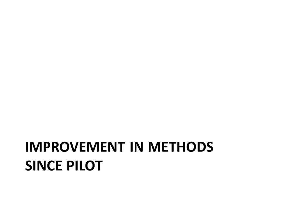 IMPROVEMENT IN METHODS SINCE PILOT