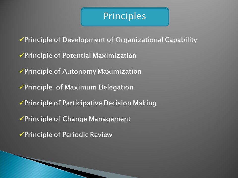 Principle of Development of Organizational Capability Principle of Potential Maximization Principle of Autonomy Maximization Principle of Maximum Dele