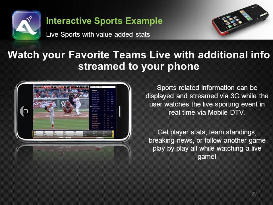 22 Watch your Favorite Teams Live with additional info streamed to your phone Interactive Sports Example Live Sports with value-added stats Sports rel