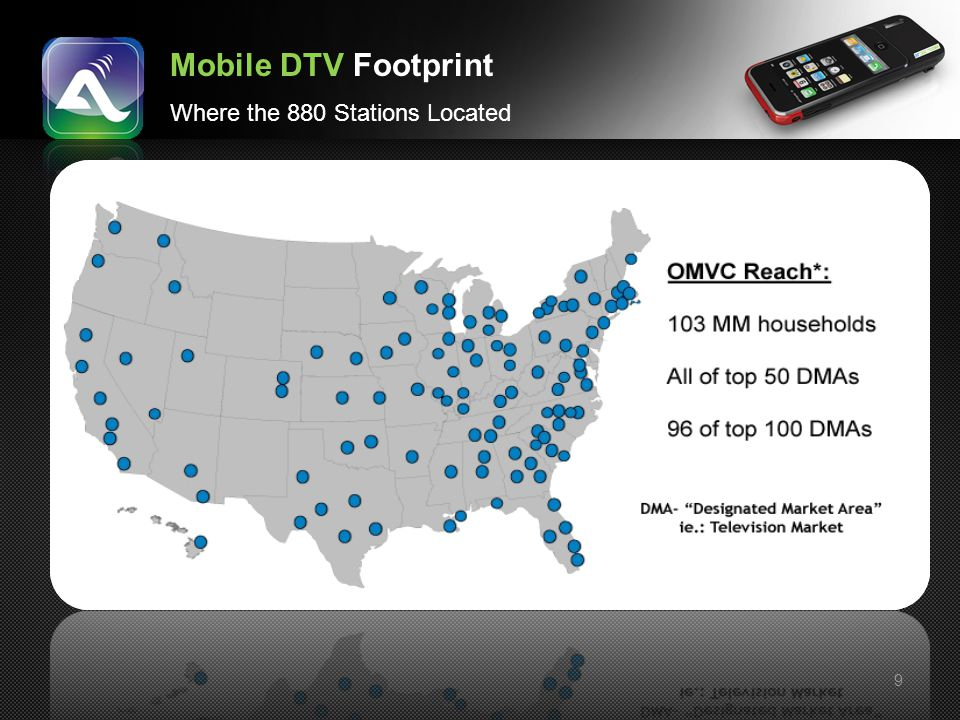 9 Mobile DTV Footprint Where the 880 Stations Located