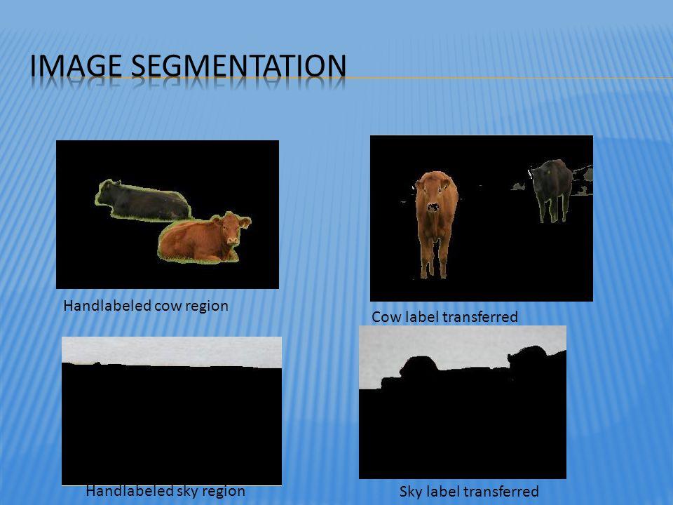 Handlabeled sky region Handlabeled cow region Sky label transferred Cow label transferred