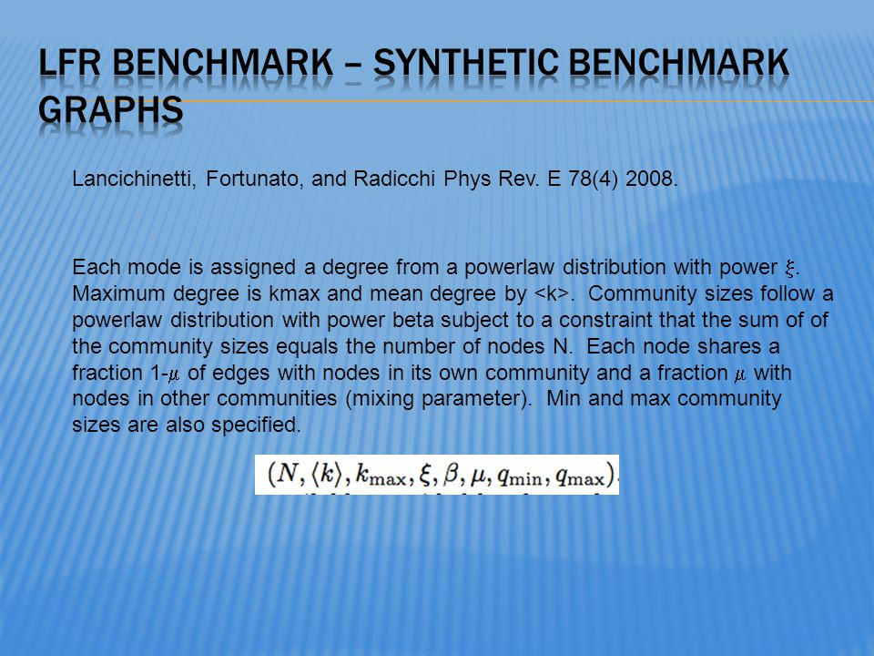 Lancichinetti, Fortunato, and Radicchi Phys Rev. E 78(4) 2008. Each mode is assigned a degree from a powerlaw distribution with power. Maximum degree