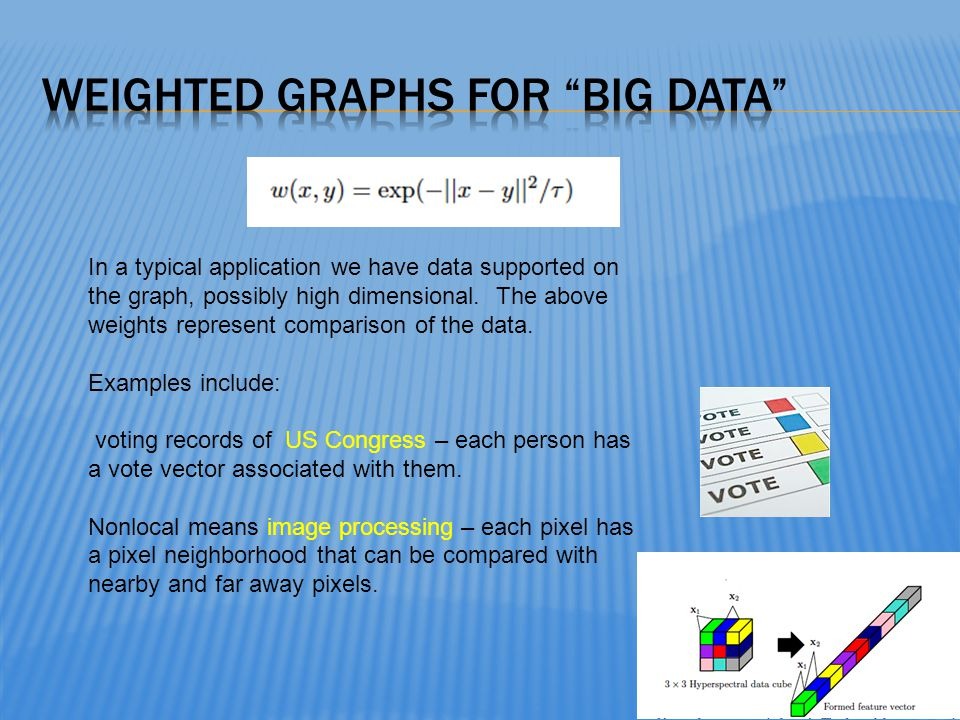 In a typical application we have data supported on the graph, possibly high dimensional. The above weights represent comparison of the data. Examples