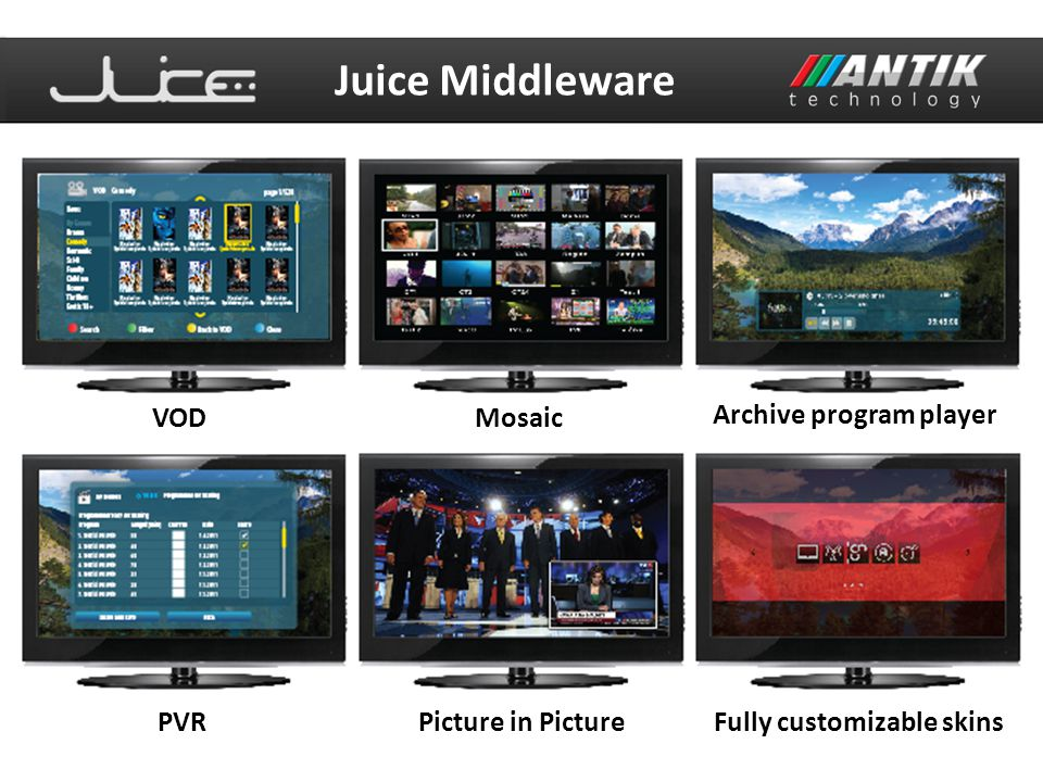 VODMosaic Archive program player PVRPicture in PictureFully customizable skins