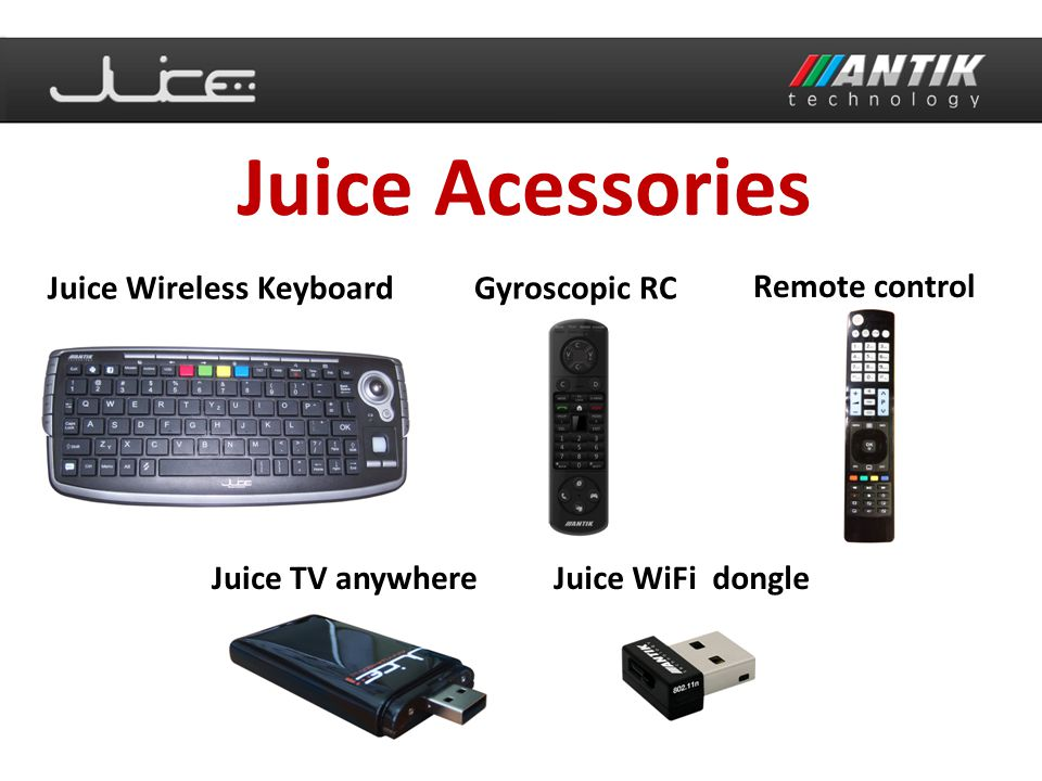 Juice Acessories Juice Wireless KeyboardGyroscopic RC Remote control Juice TV anywhereJuice WiFi dongle