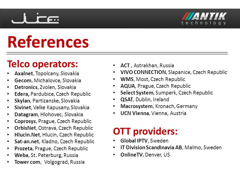 Telco operators: Axalnet, Topolcany, Slovakia Gecom, Michalovce, Slovakia Detronics, Zvolen, Slovakia Edera, Pardubice, Czech Republic Skylan, Partiza
