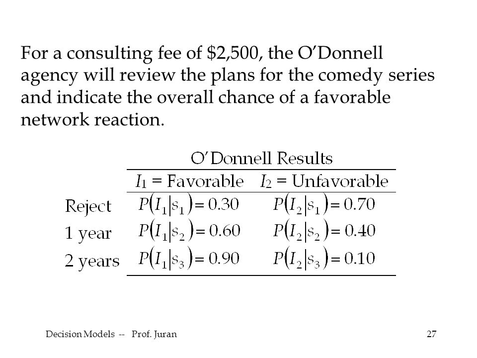Decision Models -- Prof. Juran27 For a consulting fee of $2,500, the ODonnell agency will review the plans for the comedy series and indicate the over