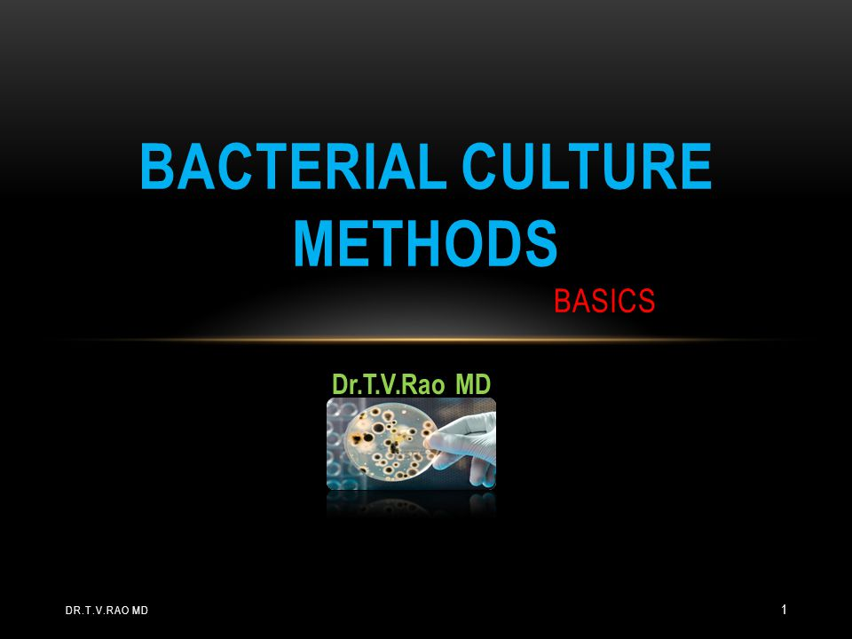 Dr.T.V.Rao MD BACTERIAL CULTURE METHODS BASICS DR.T.V.RAO MD 1