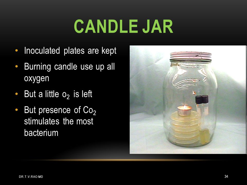 CANDLE JAR Inoculated plates are kept Burning candle use up all oxygen But a little o 2 is left But presence of Co 2 stimulates the most bacterium DR.T.V.RAO MD 34
