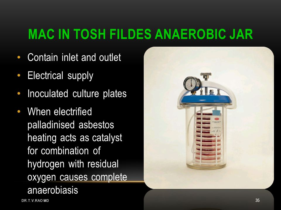 MAC IN TOSH FILDES ANAEROBIC JAR Contain inlet and outlet Electrical supply Inoculated culture plates When electrified palladinised asbestos heating acts as catalyst for combination of hydrogen with residual oxygen causes complete anaerobiasis DR.T.V.RAO MD 35