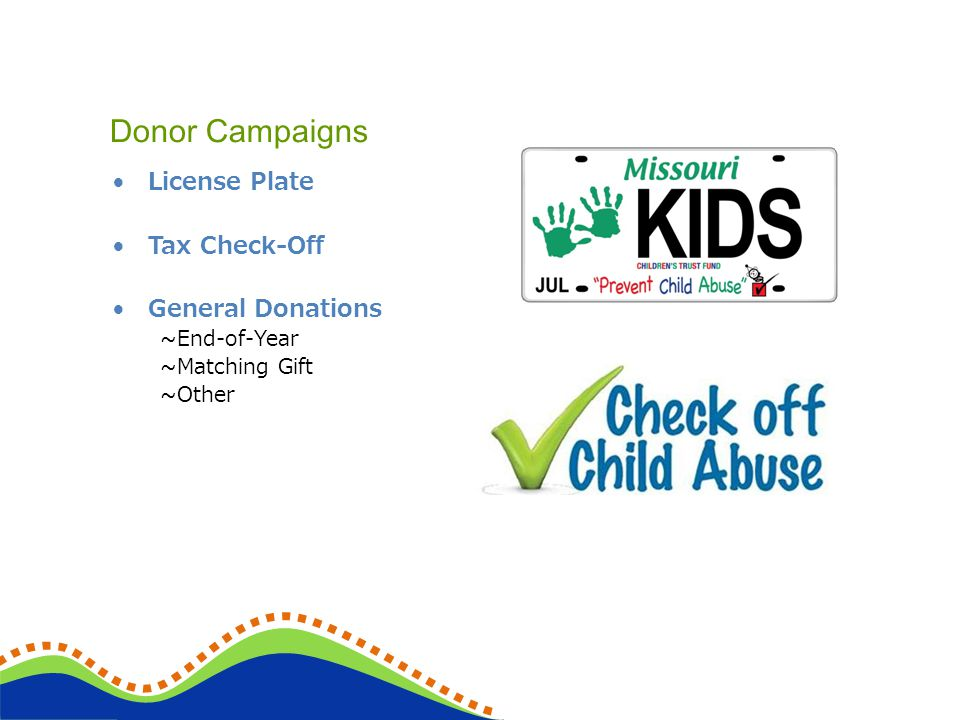License Plate Tax Check-Off General Donations ~End-of-Year ~Matching Gift ~Other Donor Campaigns