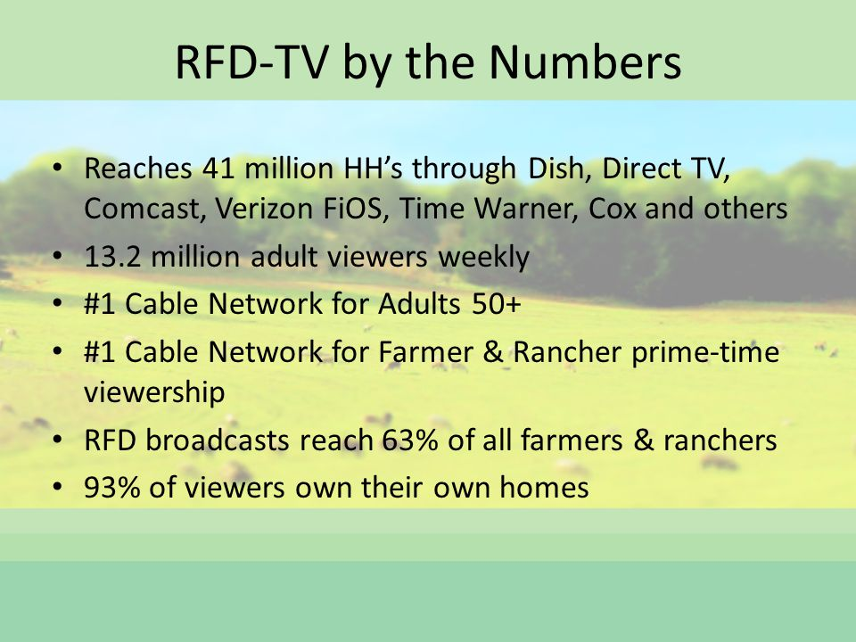 RFD-TV by the Numbers Reaches 41 million HHs through Dish, Direct TV, Comcast, Verizon FiOS, Time Warner, Cox and others 13.2 million adult viewers weekly #1 Cable Network for Adults 50+ #1 Cable Network for Farmer & Rancher prime-time viewership RFD broadcasts reach 63% of all farmers & ranchers 93% of viewers own their own homes