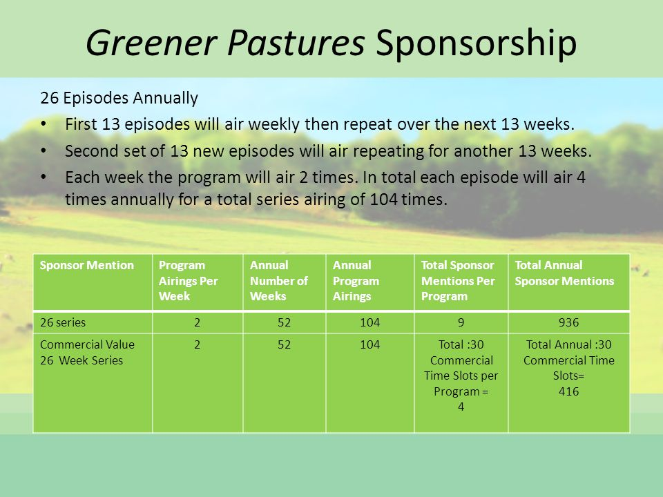 Greener Pastures Sponsorship 26 Episodes Annually First 13 episodes will air weekly then repeat over the next 13 weeks.