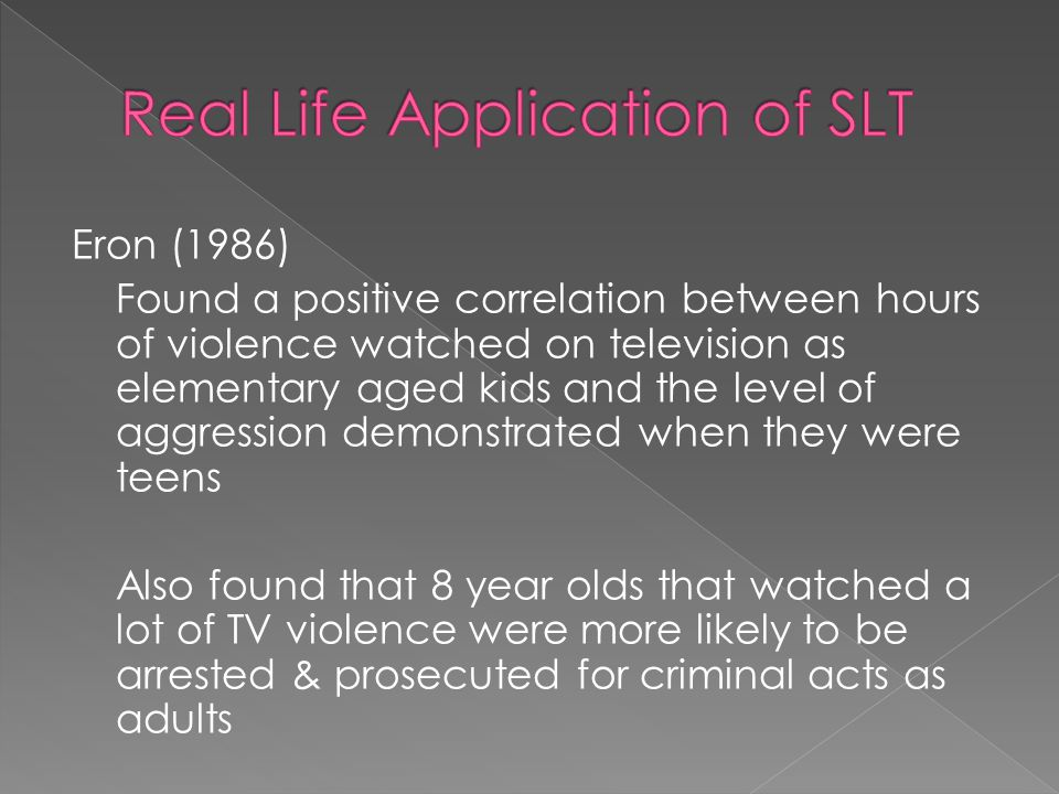 Kimball & Zabrack (1986) Canadian study found children became more aggressive 2 years after the introduction of TV in their town