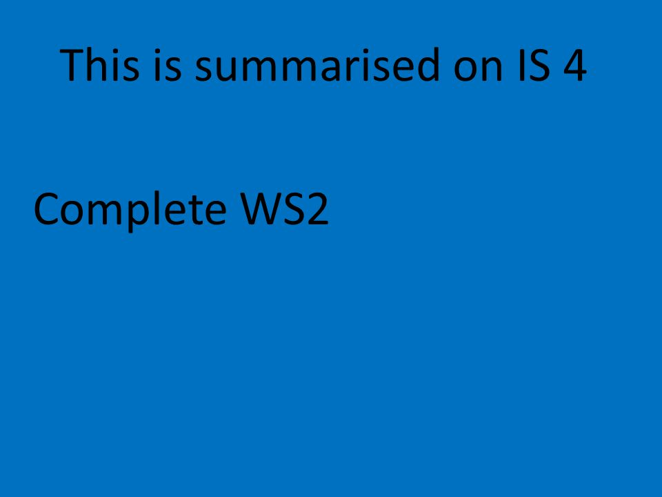 This is summarised on IS 4 Complete WS2