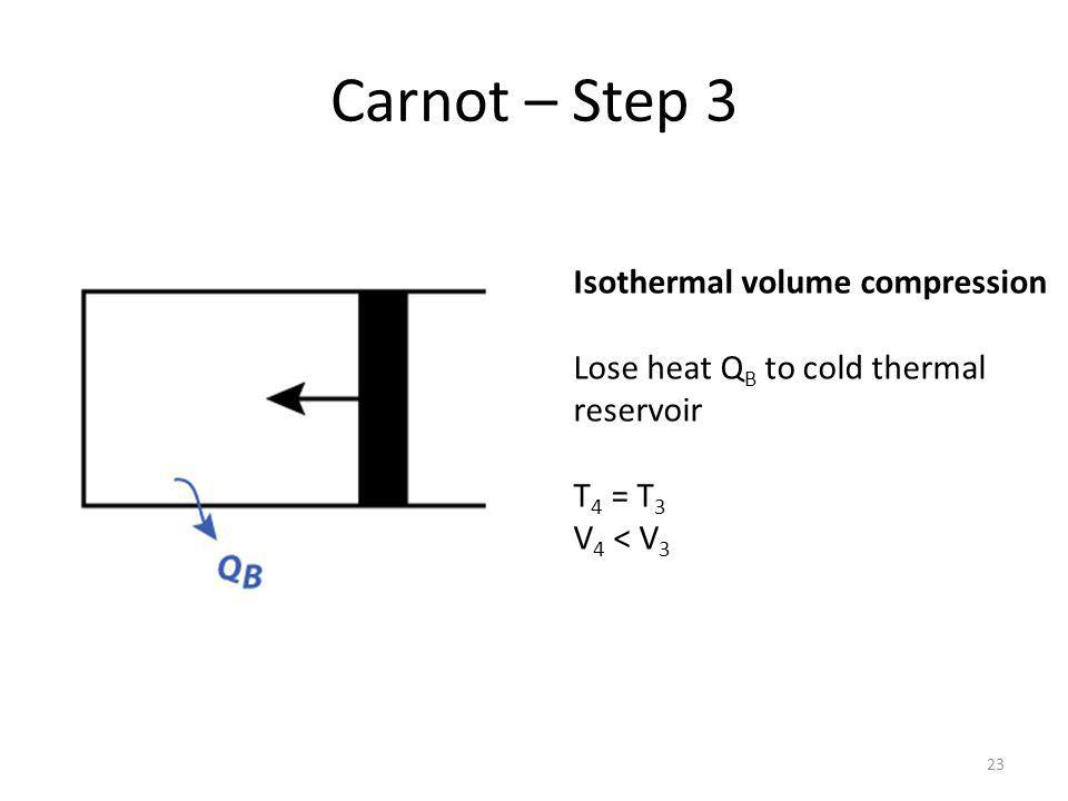 Carnot – Step 4 24 Adiabatic volume compression No heat exchange T 1 > T 4 V 1 < V 4 Returned to original state T 1, V 1.