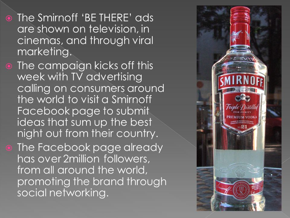 The Smirnoff BE THERE ads are shown on television, in cinemas, and through viral marketing.