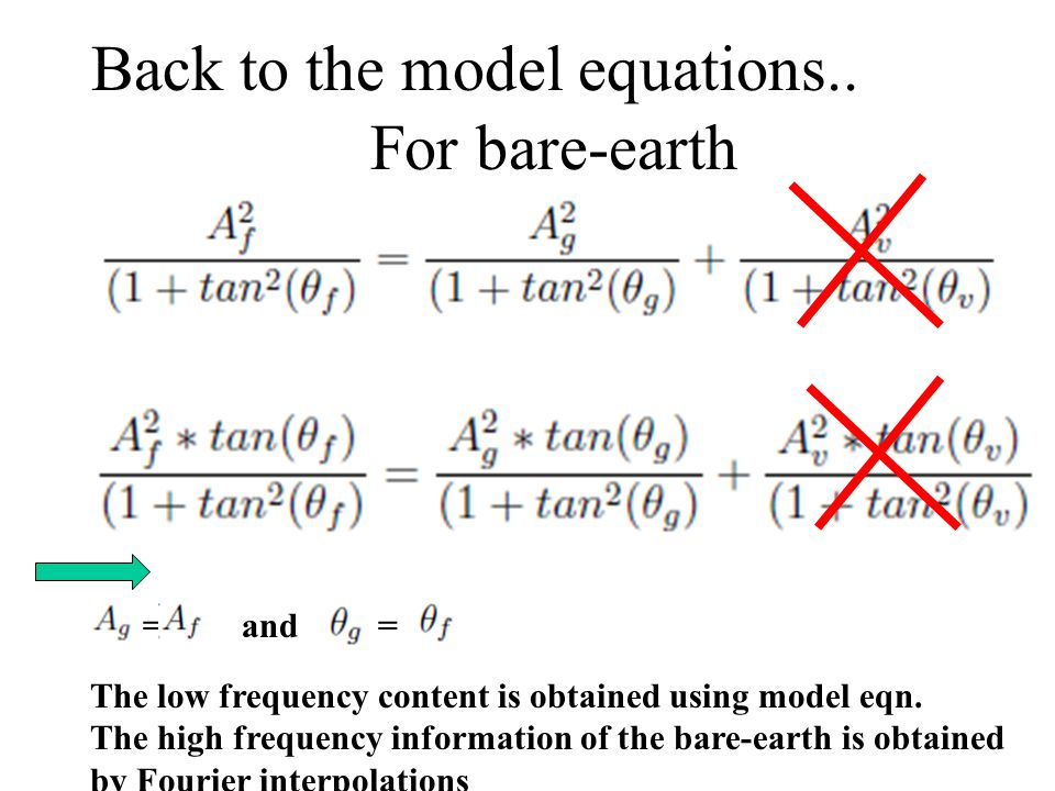 For bare-earth = and = The low frequency content is obtained using model eqn.
