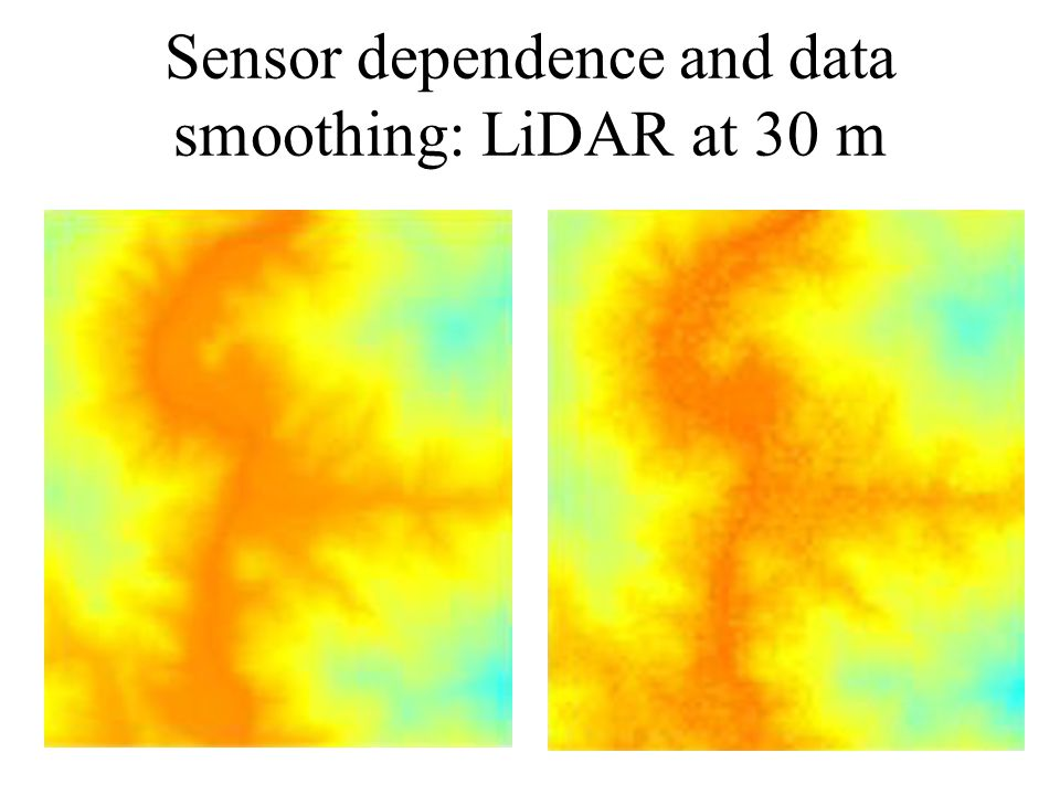 Sensor dependence and data smoothing: LiDAR at 30 m