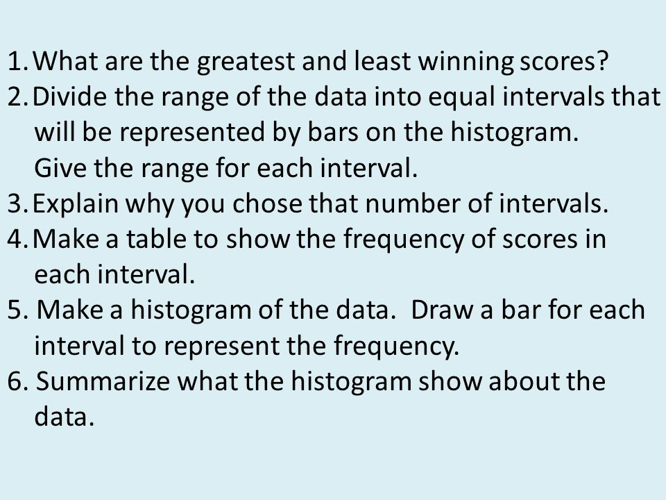 1.What are the greatest and least winning scores? 2.Divide the range of the data into equal intervals that will be represented by bars on the histogra