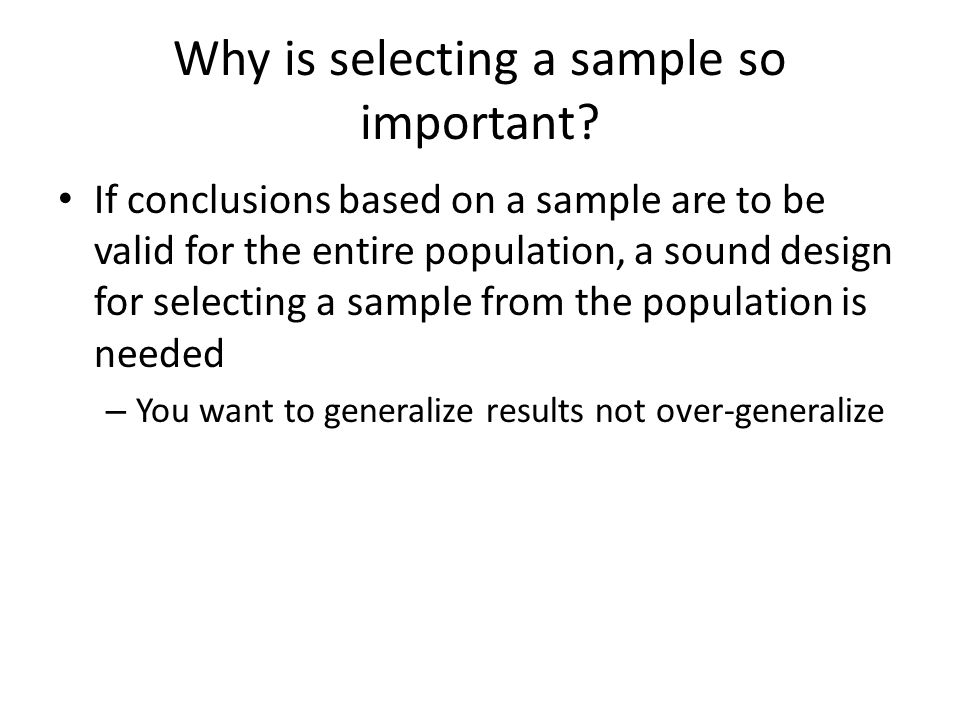 Sample Surveys Sample surveys collects information about a population by selecting and measuring a sample from the population The goal is a picture of the population A sample survey is one type of observational study