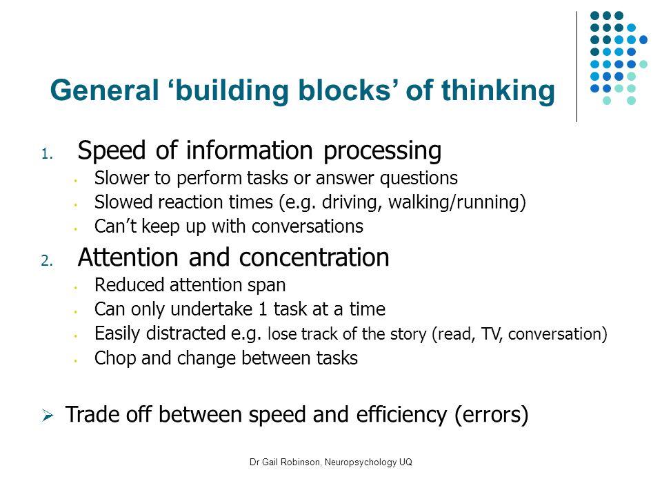 Dr Gail Robinson, Neuropsychology UQ General building blocks of thinking 1.
