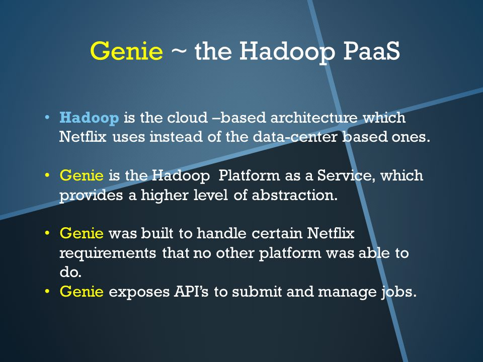 Genie ~ the Hadoop PaaS Hadoop is the cloud –based architecture which Netflix uses instead of the data-center based ones. Genie is the Hadoop Platform