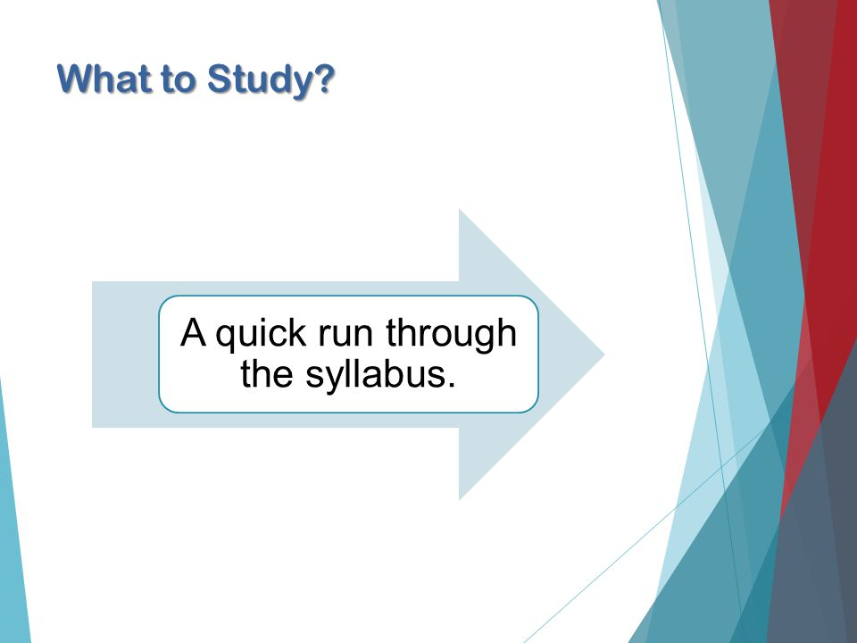 What to Study A quick run through the syllabus.