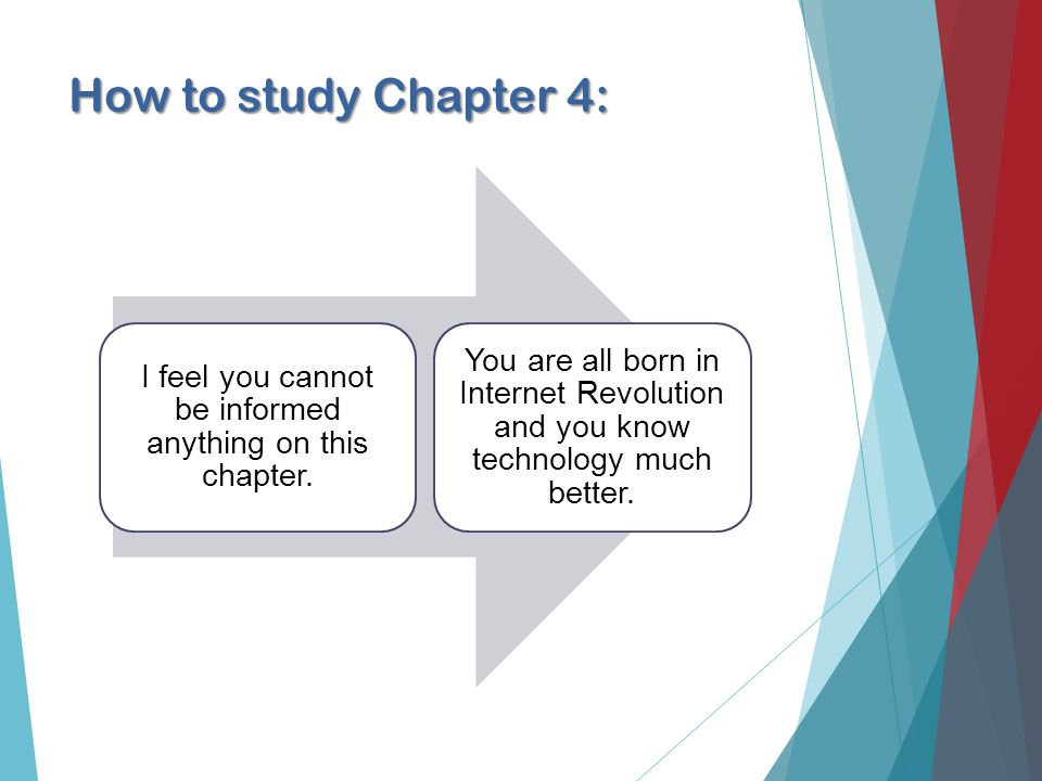 How to study Chapter 4: I feel you cannot be informed anything on this chapter.