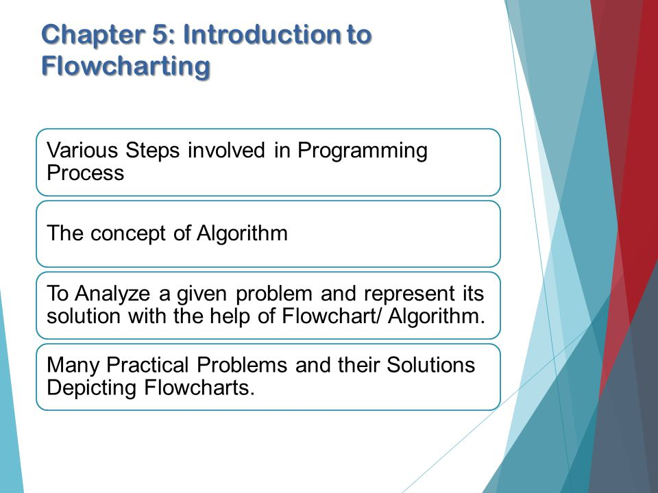 Chapter 5: Introduction to Flowcharting Various Steps involved in Programming Process The concept of Algorithm To Analyze a given problem and represent its solution with the help of Flowchart/ Algorithm.