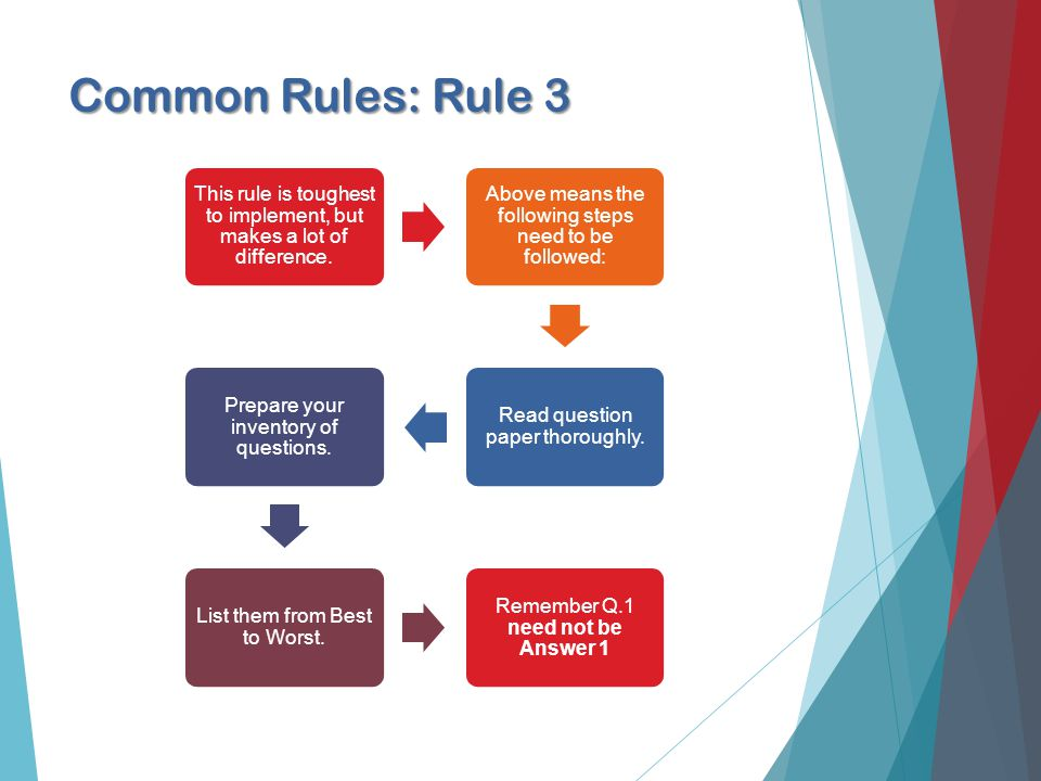Common Rules: Rule 3 This rule is toughest to implement, but makes a lot of difference.