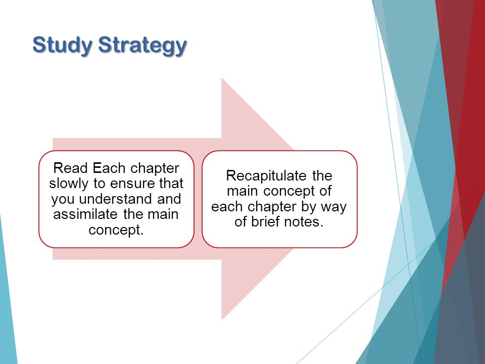 Study Strategy Read Each chapter slowly to ensure that you understand and assimilate the main concept.