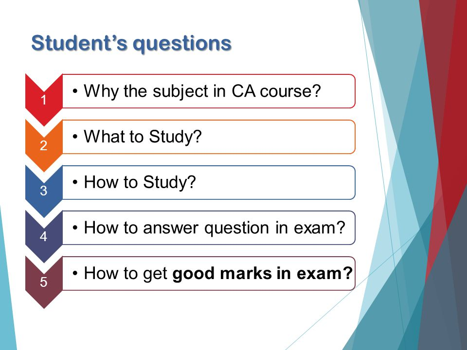 Students questions 1 Why the subject in CA course.