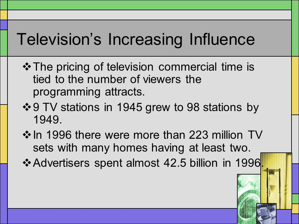 Televisions Increasing Influence The pricing of television commercial time is tied to the number of viewers the programming attracts. 9 TV stations in