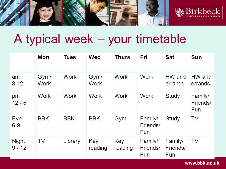 A typical week – your timetable MonTuesWedThursFriSatSun am 8-12 Gym/ Work Gym/ Work HW and errands pm Work StudyFamily/ Friends/ Fun Eve 6-9 BBK GymFamily/ Friends/ Fun StudyTV Night TVLibraryKey reading Family/ Friends/ Fun TV