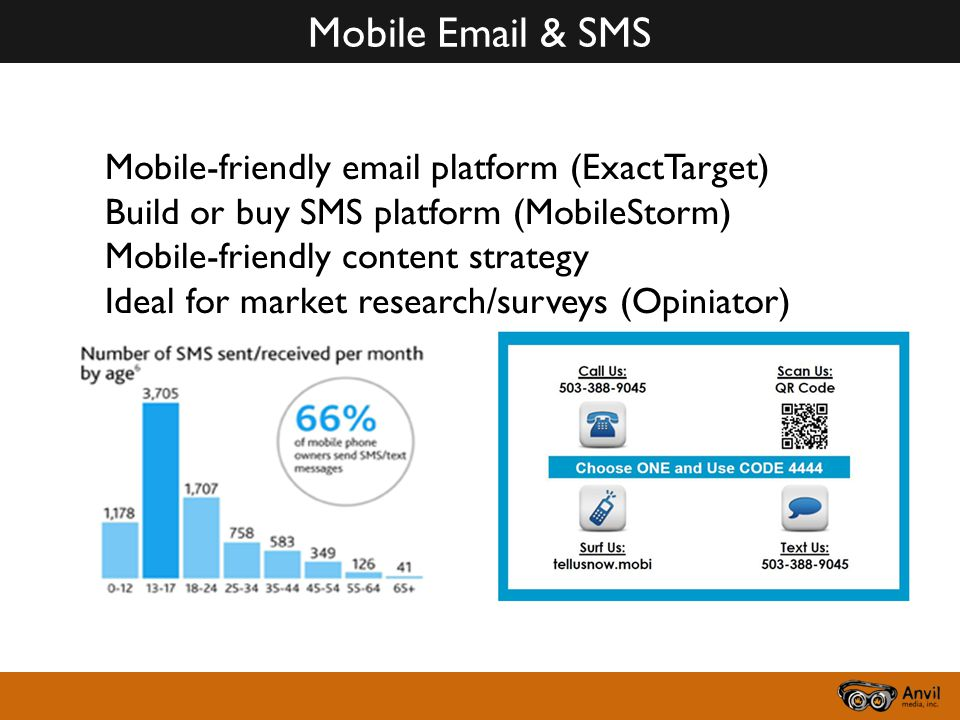 Mobile Email & SMS Mobile-friendly email platform (ExactTarget) Build or buy SMS platform (MobileStorm) Mobile-friendly content strategy Ideal for market research/surveys (Opiniator)