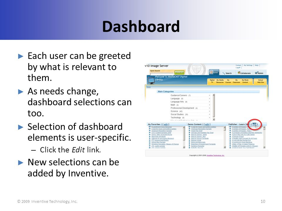 Dashboard Each user can be greeted by what is relevant to them.
