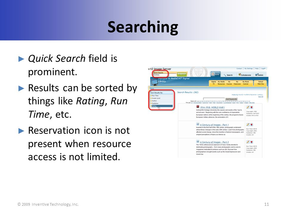 Searching Quick Search field is prominent.