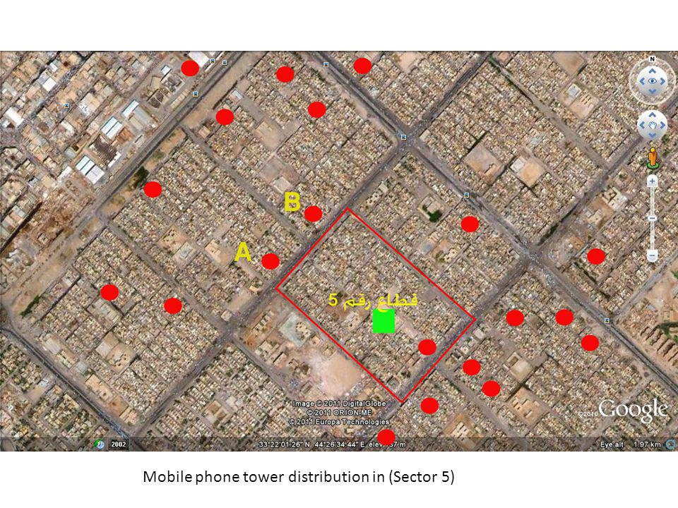 Mobile phone tower distribution in (Sector 5)