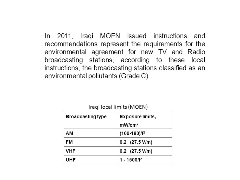 Broadcasting type Exposure limits, mW/cm 2 AM(100-180)/f 2 FM0.2 (27.5 V/m) VHF0.2 (27.5 V/m) UHF1 - 1500/f 2 In 2011, Iraqi MOEN issued instructions and recommendations represent the requirements for the environmental agreement for new TV and Radio broadcasting stations, according to these local instructions, the broadcasting stations classified as an environmental pollutants (Grade C) Iraqi local limits (MOEN)