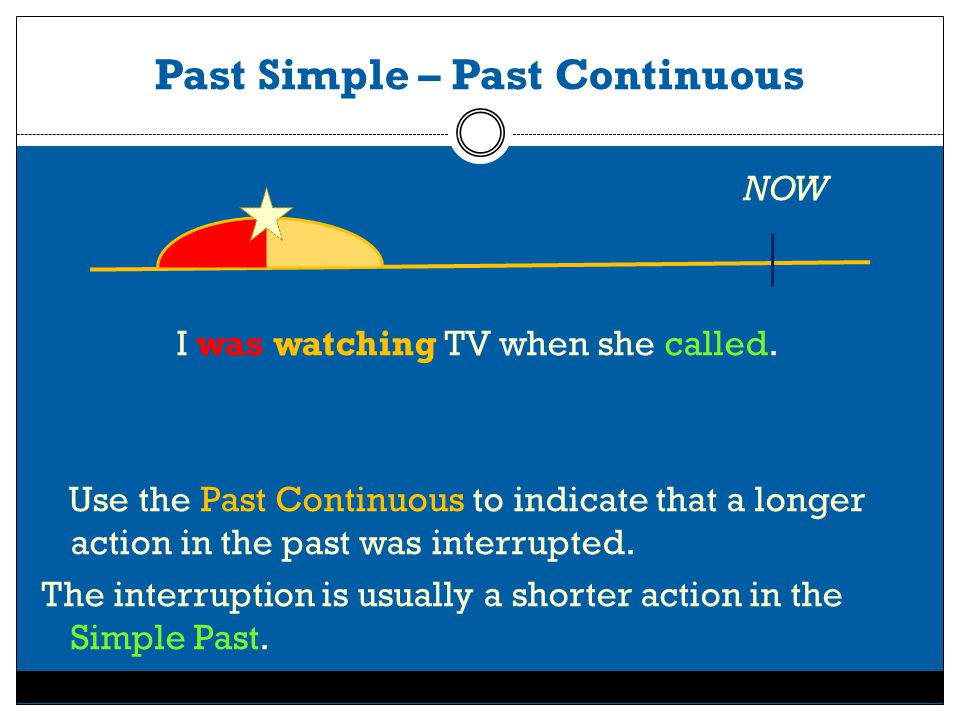 Past Simple – Past Continuous NOW I was watching TV when she called.