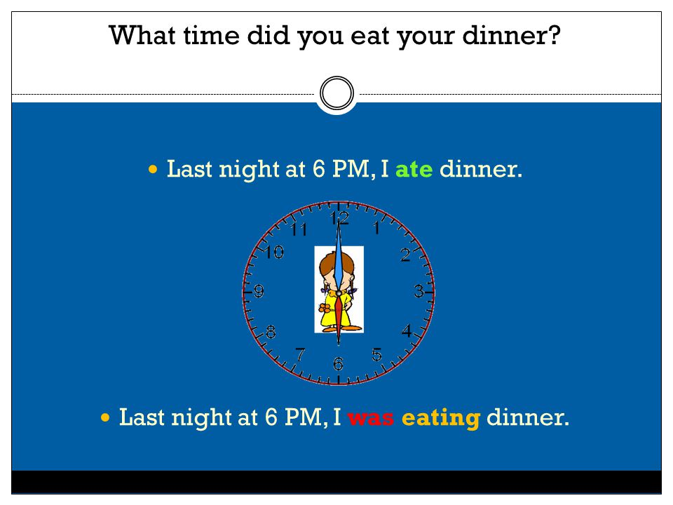 What time did you eat your dinner.Last night at 6 PM, I ate dinner.