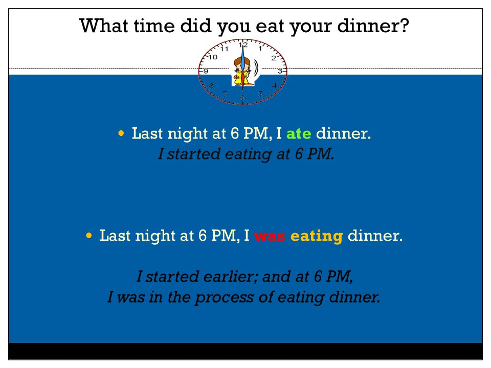 What time did you eat your dinner? Last night at 6 PM, I ate dinner. I started eating at 6 PM. Last night at 6 PM, I was eating dinner. I started earl