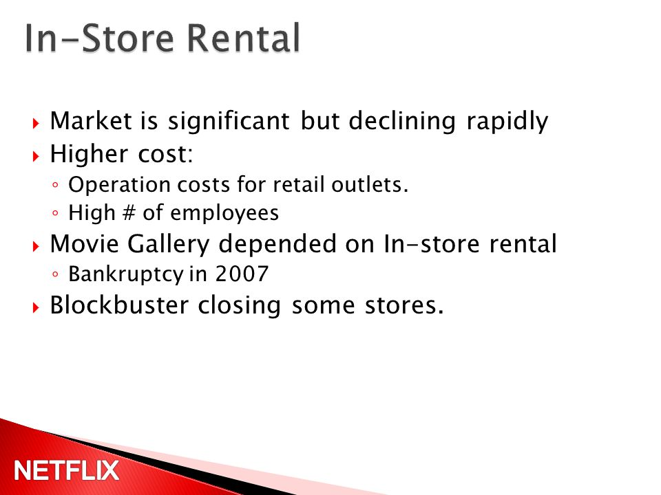 On-line and mail order delivery Introduced by Netflix in 1997 Adopted by Blockbuster in 2004.