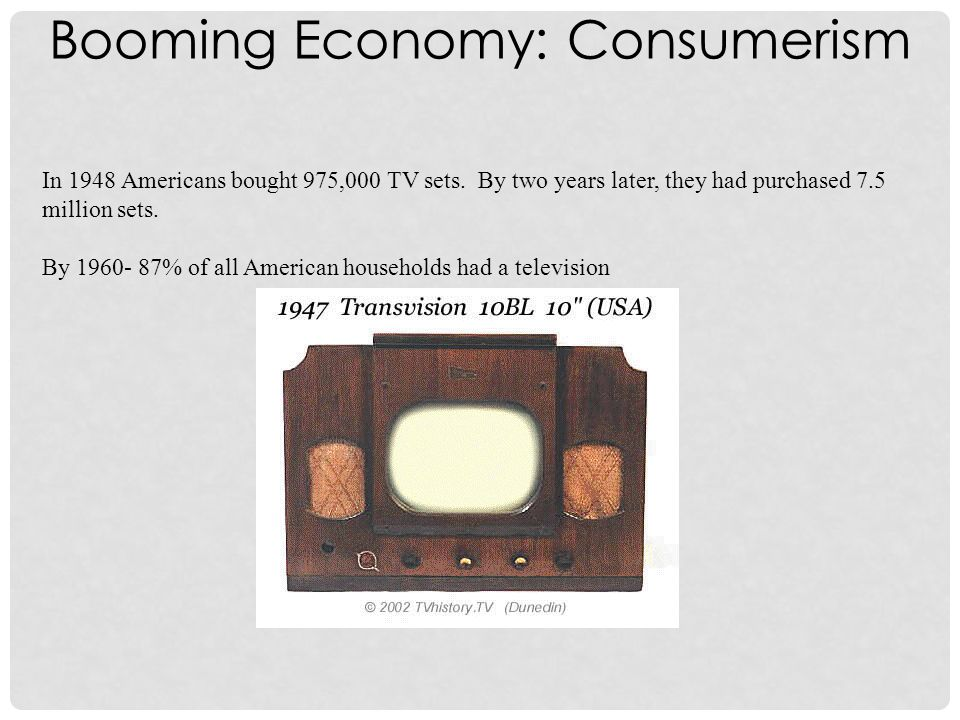 In 1948 Americans bought 975,000 TV sets.By two years later, they had purchased 7.5 million sets.